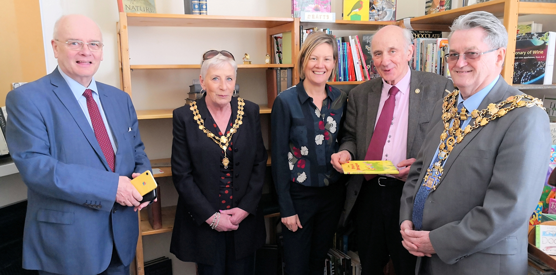 Grand opening of the bookshop - (left to right) Councillor Gordon Bambridge, executive member for growth, Breckland Council; Wisbech mayoress Mrs Janet Tanfield; Charlotte Gilsenan, new chief executive officer of Bankside Open Spaces Trust; Mr Peter Clayton, chairman of Octavia Hill Birthplace Museum Trust; Wisbech mayor Councillor Peter Human