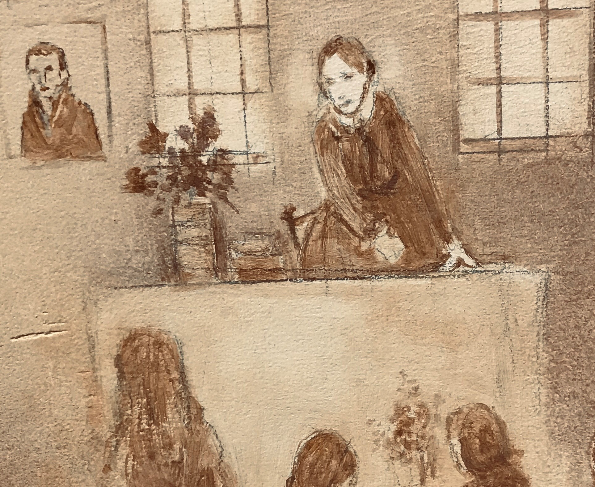 Detail from the Octavia Hill story mural in the reception area of the museum showing Caroline Hill teaching at the infants' school in Wisbech, which she and her husband founded and which is now the Angles Theatre